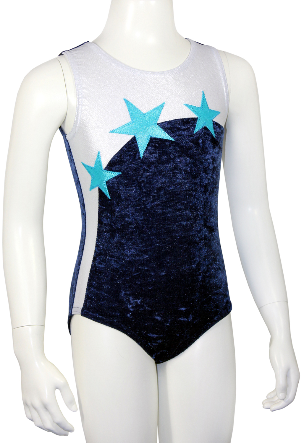 Kurzarm Turnanzug Starlight aus Crash Samt & Glitzerlycra